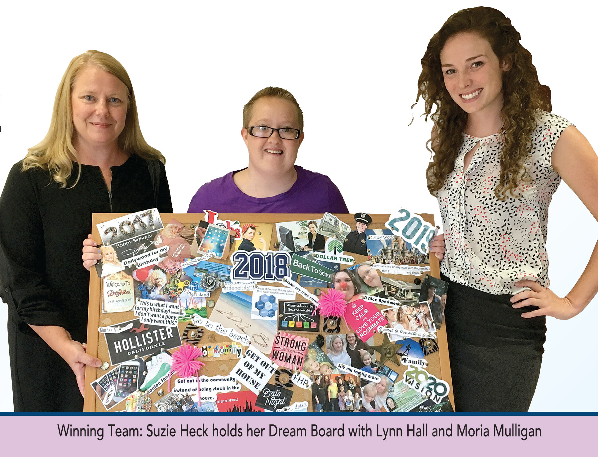Suzie Heck holds her dream board with Lynn Hall and Moria Mulligan
